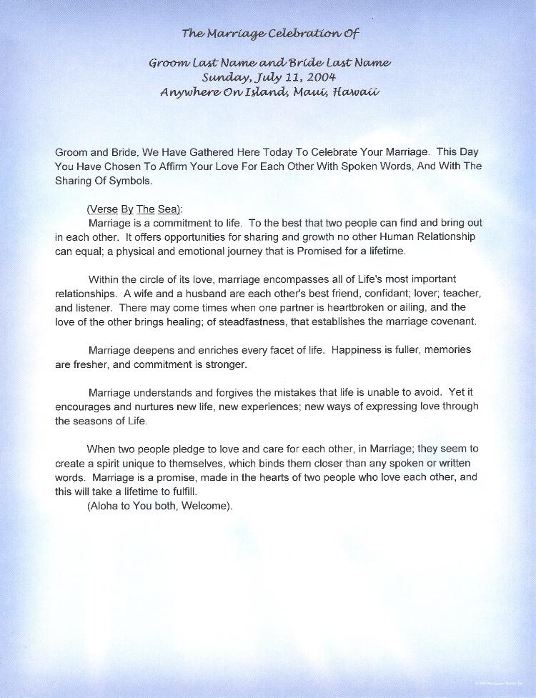 Maui Hawaii Non Religious Vows By Rev Kimo